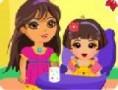 لعبة رعاية الاطفال مع دورا
